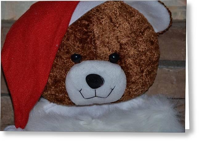 Button Nose Greeting Cards - Santa Bear Greeting Card by Maria Urso