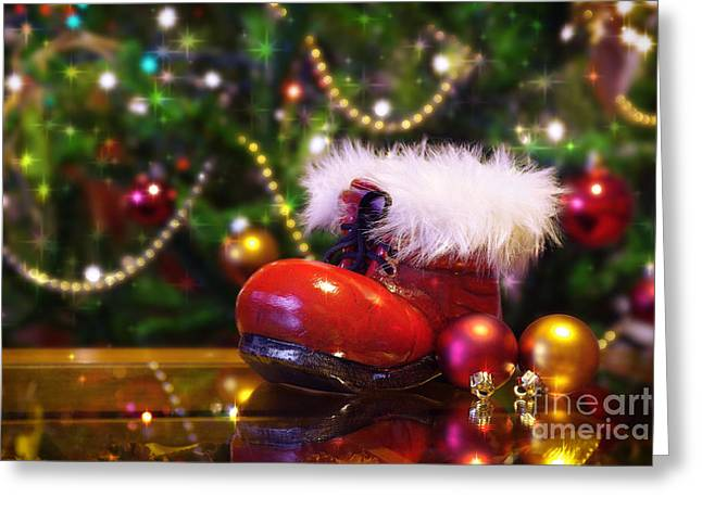 Bright. Table Greeting Cards - Santa-claus boot Greeting Card by Carlos Caetano