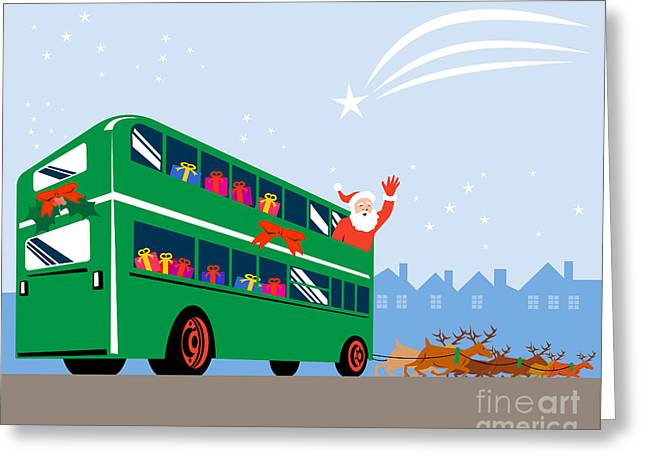 Santa Claus Double Decker Bus Greeting Card by Aloysius Patrimonio
