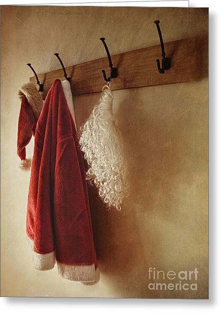 Rack Greeting Cards - Santa costume hanging on coat rack Greeting Card by Sandra Cunningham