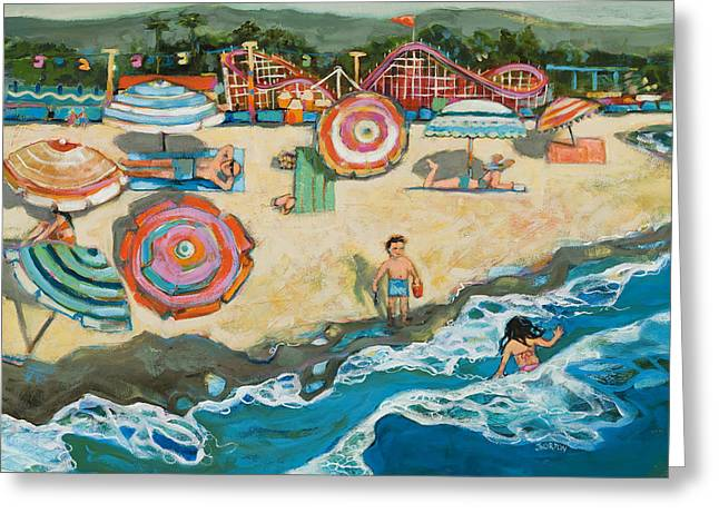 Umbrella Greeting Cards - Santa Cruz Beach Boardwalk Greeting Card by Jen Norton