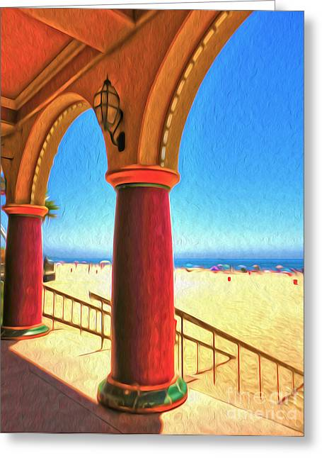 Santa Cruz Boardwalk - Beach Greeting Card by Gregory Dyer