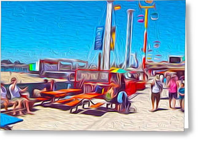 Santa Cruz Greeting Cards - Santa Cruz Boardwalk - Panorama - 01 Greeting Card by Gregory Dyer