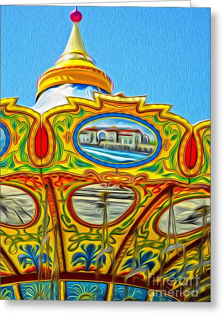 Amusements Greeting Cards - Santa Cruz Boardwalk - Tilt-a-Whirl - 03 Greeting Card by Gregory Dyer