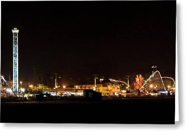 Santa Cruz Pier Greeting Cards - Santa Cruz Boardwalk by Night Greeting Card by Brendan Reals