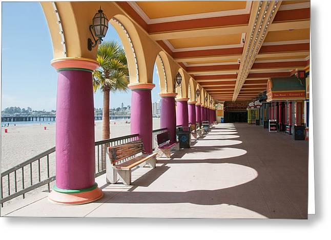 Santa Cruz Pier Greeting Cards - Santa Cruz Boardwalk Greeting Card by Kent Sorensen