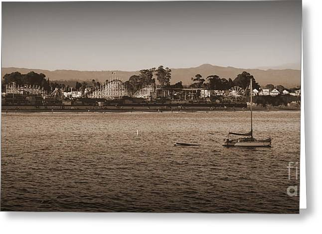 Santa Cruz Sailboat Greeting Cards - Santa Cruz boardwalk sepia Greeting Card by Garnett  Jaeger