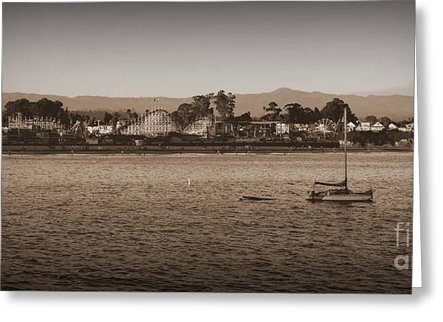 Santa Cruz Boardwalk Sepia Greeting Card by Garnett  Jaeger