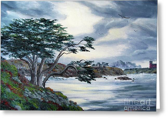 Santa Cruz Paintings Greeting Cards - Santa Cruz Cypress Tree Greeting Card by Laura Iverson