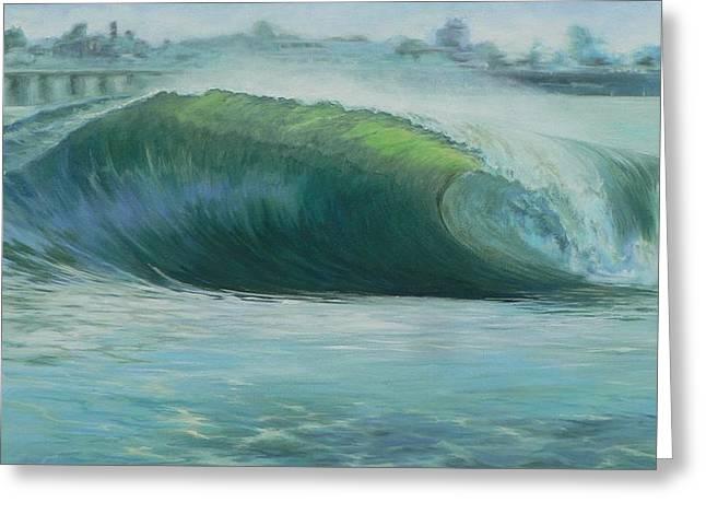 Santa Cruz Surfing Paintings Greeting Cards - Santa Cruz Green Greeting Card by Kathryn Colvig