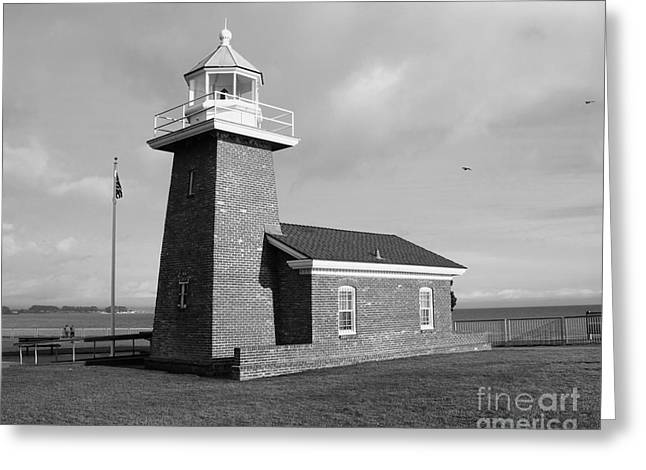 California Lighthouse Greeting Cards - Santa Cruz Lighthouse - Black and White Greeting Card by Carol Groenen