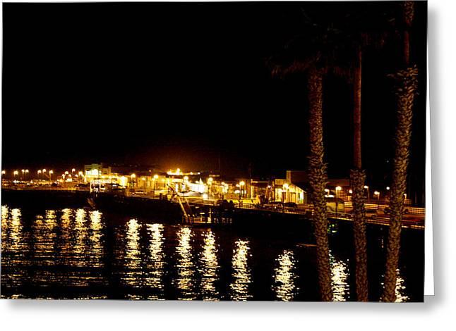 Santa Cruz Pier Greeting Cards - Santa Cruz Pier at Night Greeting Card by Marilyn Hunt