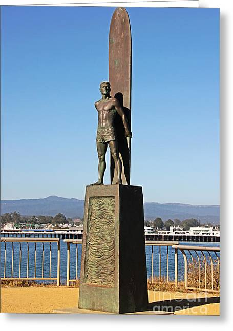 Steamer Lane Greeting Cards - Santa Cruz Surfer Statue Greeting Card by Paul Topp