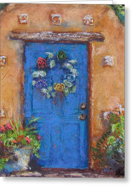 Entryway Pastels Greeting Cards - Santa Fe Blue Greeting Card by Julia Patterson