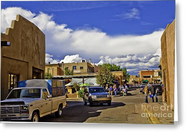 Socialize Greeting Cards - Santa Fe Plaza 2 Greeting Card by Madeline Ellis