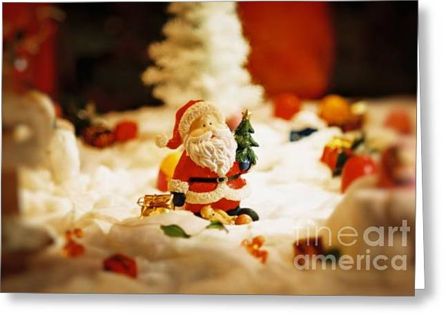 Snowy Day Mixed Media Greeting Cards - Santa in town Greeting Card by Sun Wu