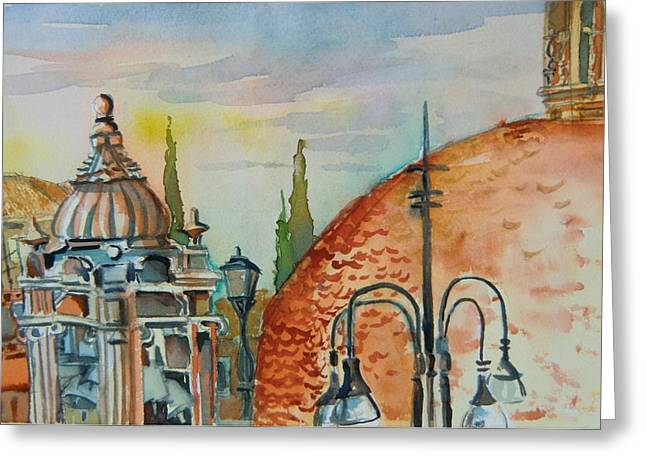 Domes Mixed Media Greeting Cards - Santa Maria del Populo Rooftops Greeting Card by Mindy Newman