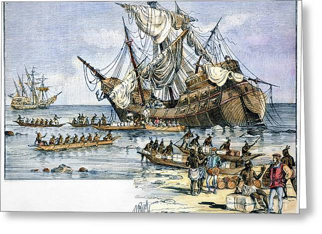 Taino Greeting Cards - Santa Maria: Wreck, 1492 Greeting Card by Granger