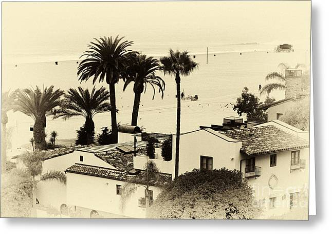 Old School House Greeting Cards - Santa Monica Beach House Greeting Card by John Rizzuto