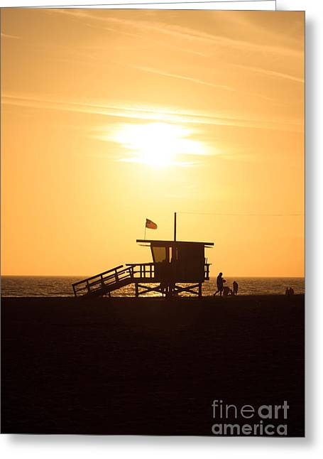 Shack Greeting Cards - Santa Monica California Sunset Photo Greeting Card by Paul Velgos