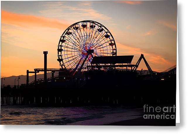 Santa Monica Pier Ferris Wheel Sunset Greeting Card by Paul Velgos