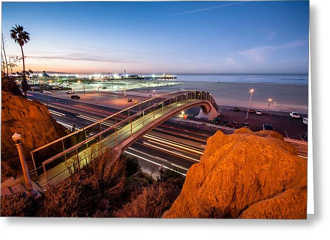 Coast Highway One Greeting Cards - Santa Monica Pier One Greeting Card by Josh Whalen