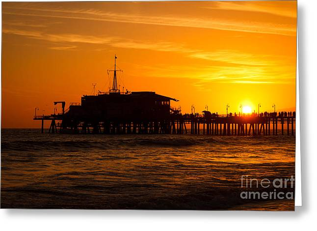 Santa Monica Pier Sunset Greeting Card by Paul Velgos