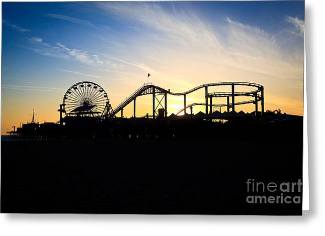 Roller Coaster Photographs Greeting Cards - Santa Monica Pier Sunset Photo Greeting Card by Paul Velgos