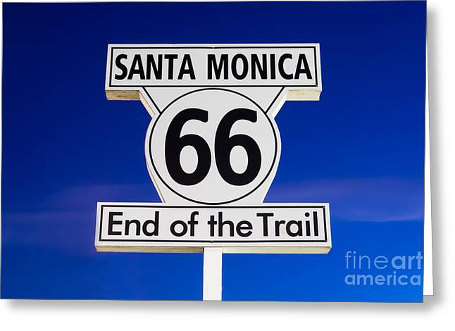 Signed Photographs Greeting Cards - Santa Monica Route 66 Sign Greeting Card by Paul Velgos
