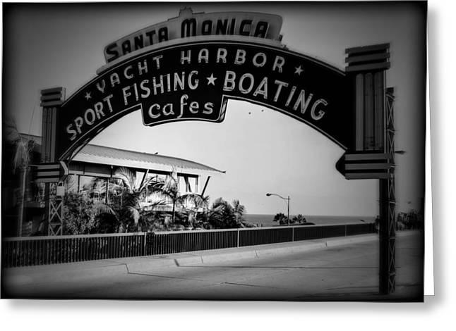 Pacific Ocean Prints Greeting Cards - Santa Monica Sign Series Holga Black and White Greeting Card by Ricky Barnard