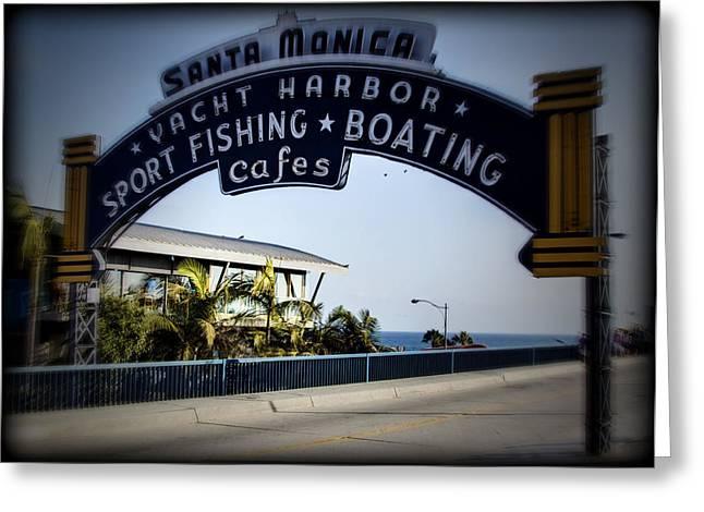 Pacific Ocean Prints Greeting Cards - Santa Monica Sign Series Holga Greeting Card by Ricky Barnard