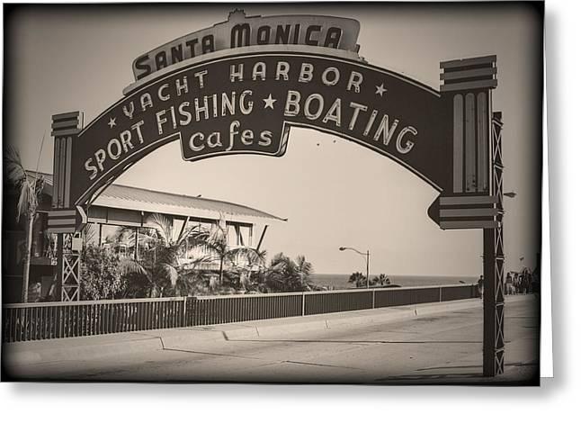 Amusements Greeting Cards - Santa Monica Sign Series Modern Vintage Greeting Card by Ricky Barnard