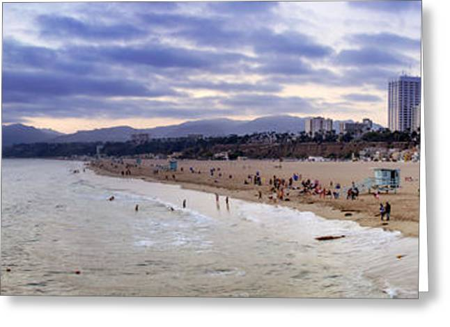 Swimmers Photographs Greeting Cards - Santa Monica Sunset Panorama Greeting Card by Ricky Barnard
