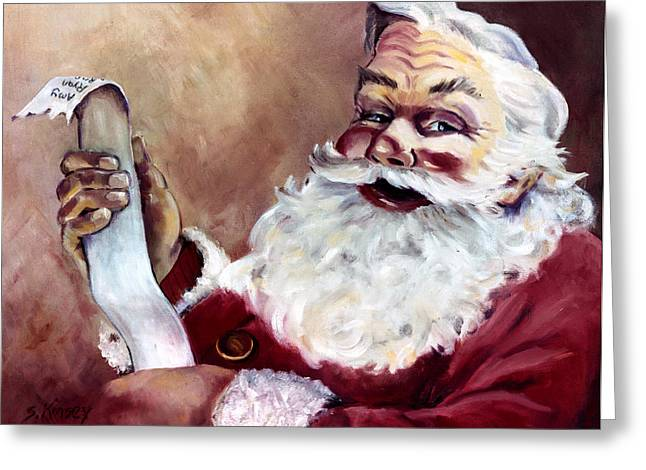 Claus Greeting Cards - Santa with a List Greeting Card by Sheila Kinsey