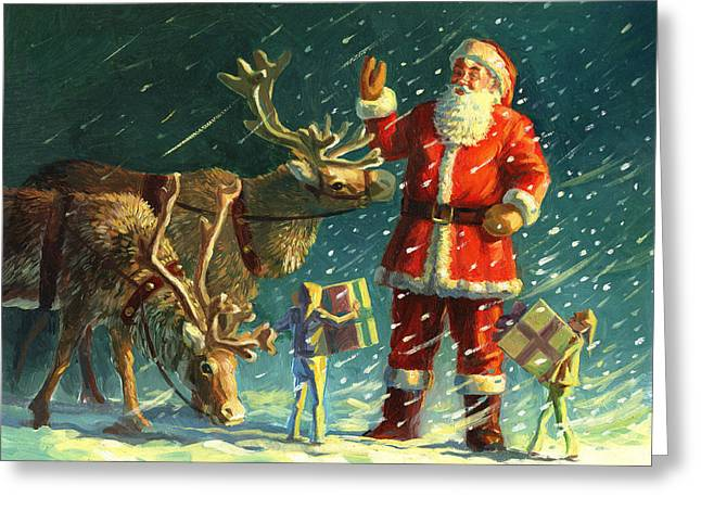 Landscape Drawings Greeting Cards - Santas and Elves Greeting Card by David Price
