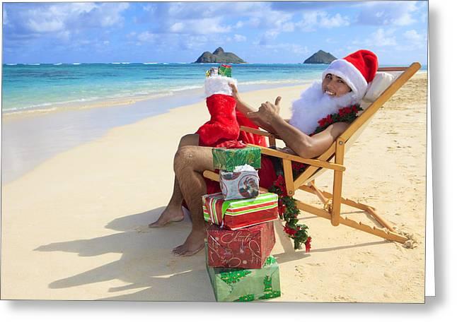 Wrap Dress Greeting Cards - Santas Christmas Vacation Greeting Card by Tomas del Amo