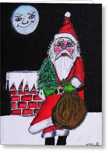 Man In The Moon Paintings Greeting Cards - Santas Friend Greeting Card by Gordon Wendling