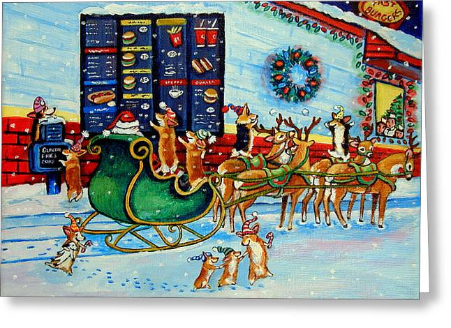 Fast Food Greeting Cards - Santas Pit Stop on  December 24th Greeting Card by Lyn Cook