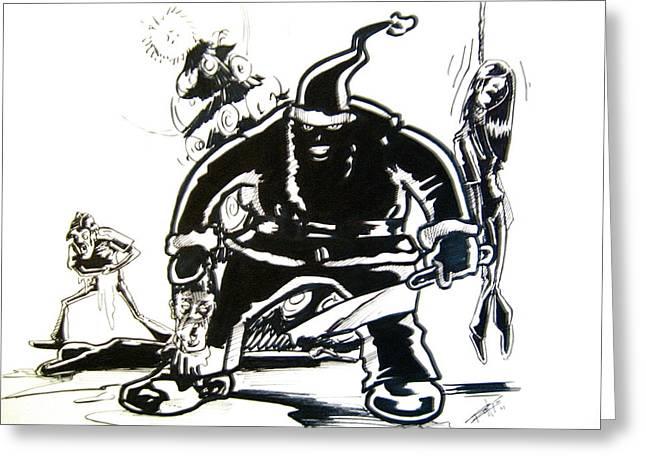 Ma.. Drawings Greeting Cards - Santas Slay Greeting Card by Big Mike Roate