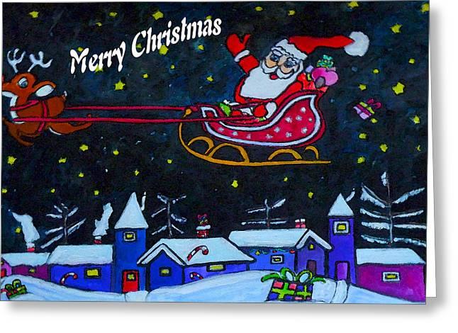 Santas Sleigh Ride Greeting Card by Monica Engeler