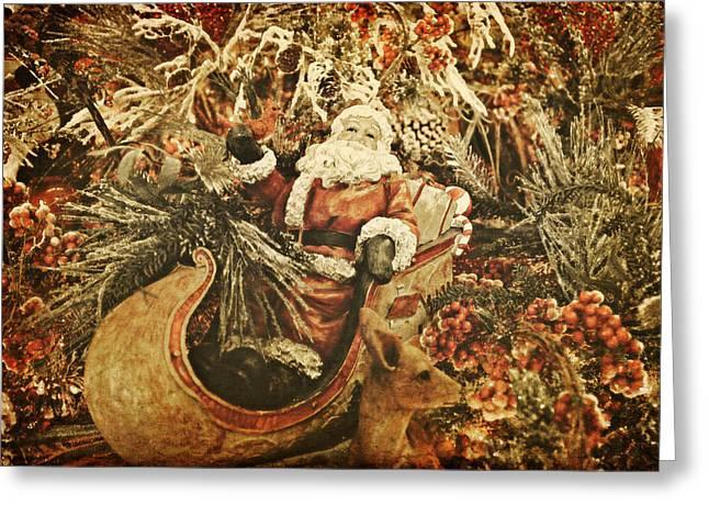 Santa's Vintage Memories Greeting Card by Toni Hopper