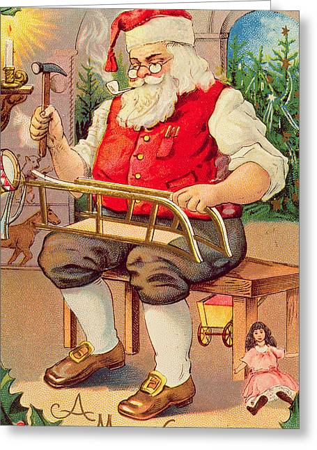 Toy Shop Paintings Greeting Cards - Santas Workshop Greeting Card by English School