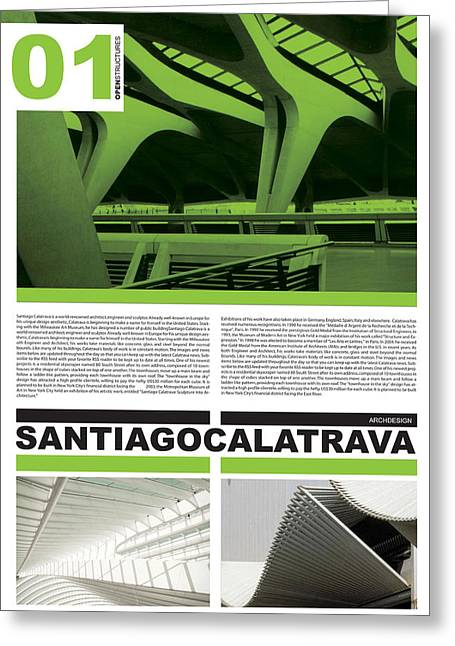 Modernist Greeting Cards - Santiago Calatrava Poster Greeting Card by Naxart Studio