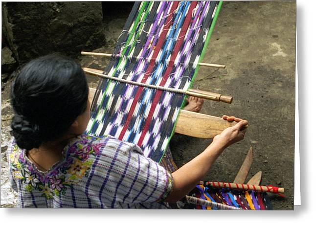 Striped Blouse Greeting Cards - Santiago Female Weaver Greeting Card by Nettie Pena