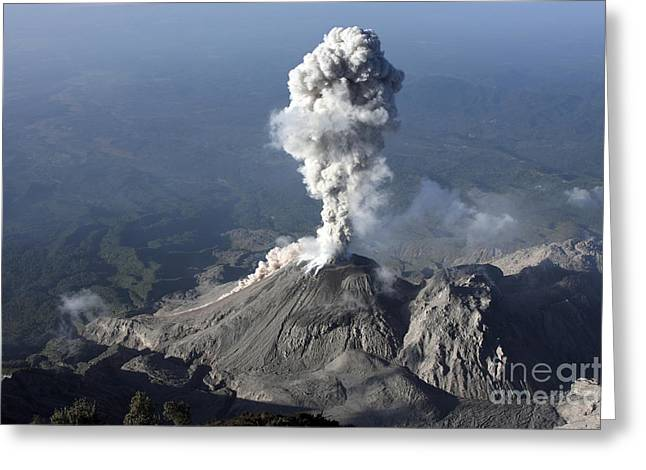 Land Feature Greeting Cards - Santiaguito Ash Eruption, Guatemala Greeting Card by Martin Rietze