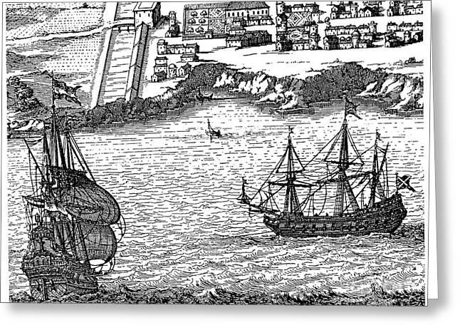 Domingo Greeting Cards - Santo Domingo Harbor, 1673 Greeting Card by Granger