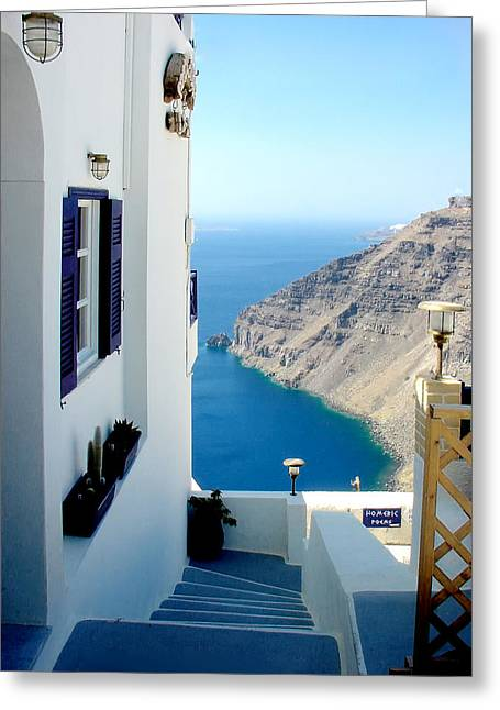 Julie Palencia Greeting Cards - Santorini 2 Greeting Card by Julie Palencia
