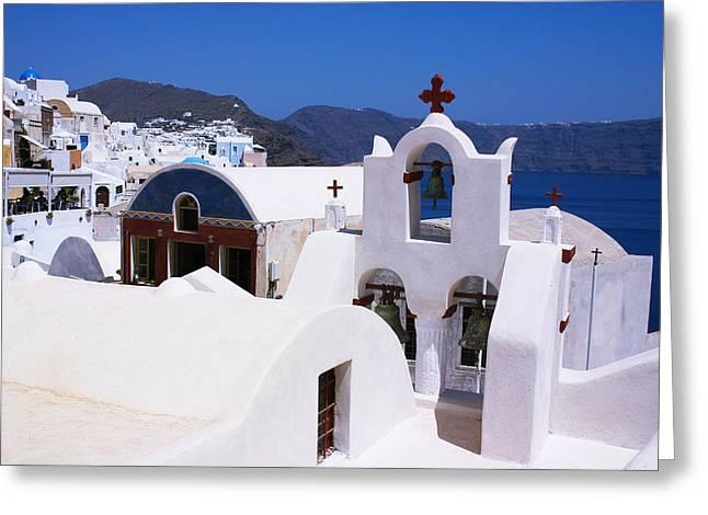 Santorini Architecture Greeting Card by Paul Cowan