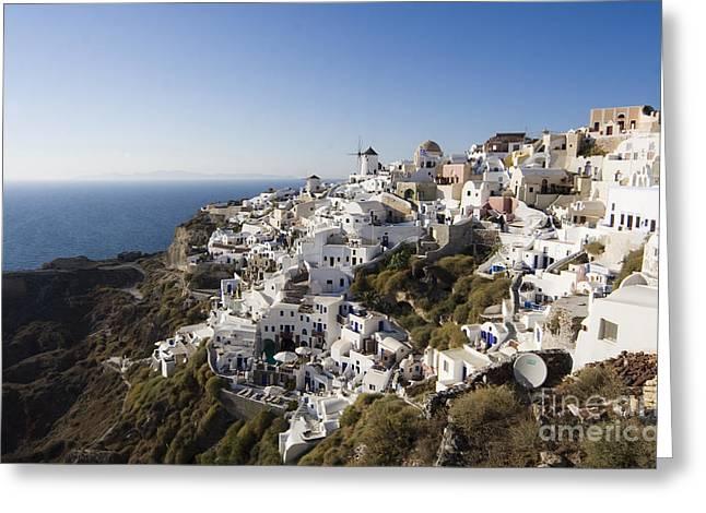 Leda Photography Greeting Cards - Santorini Cliff Greeting Card by Leslie Leda