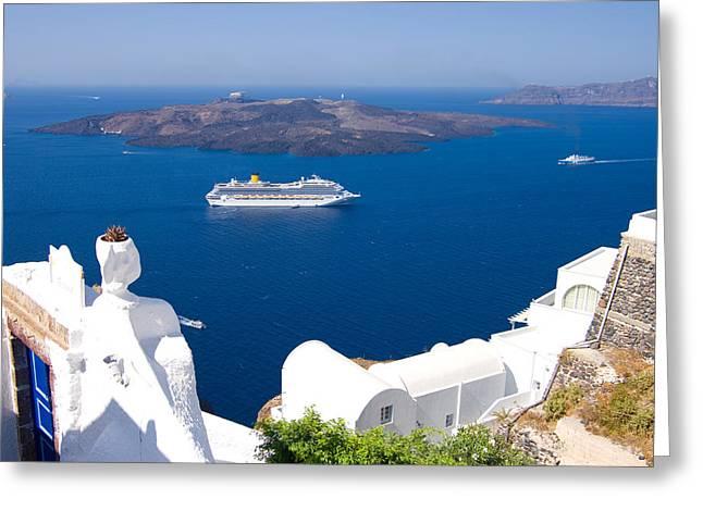 Boat Cruise Greeting Cards - Santorini Cruising Greeting Card by Meirion Matthias